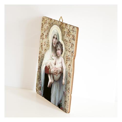 Quadro legno sagomato gancio retro Madonna Bambino di Bouguereau 2