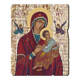 Quadro legno sagomato gancio retro Madonna del Perpetuo Soccorso s1