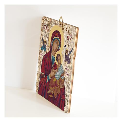 Quadro legno sagomato gancio retro Madonna del Perpetuo Soccorso 2