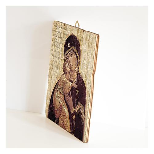 Quadro legno sagomato gancio retro Icona della Madonna di Vladimir 2
