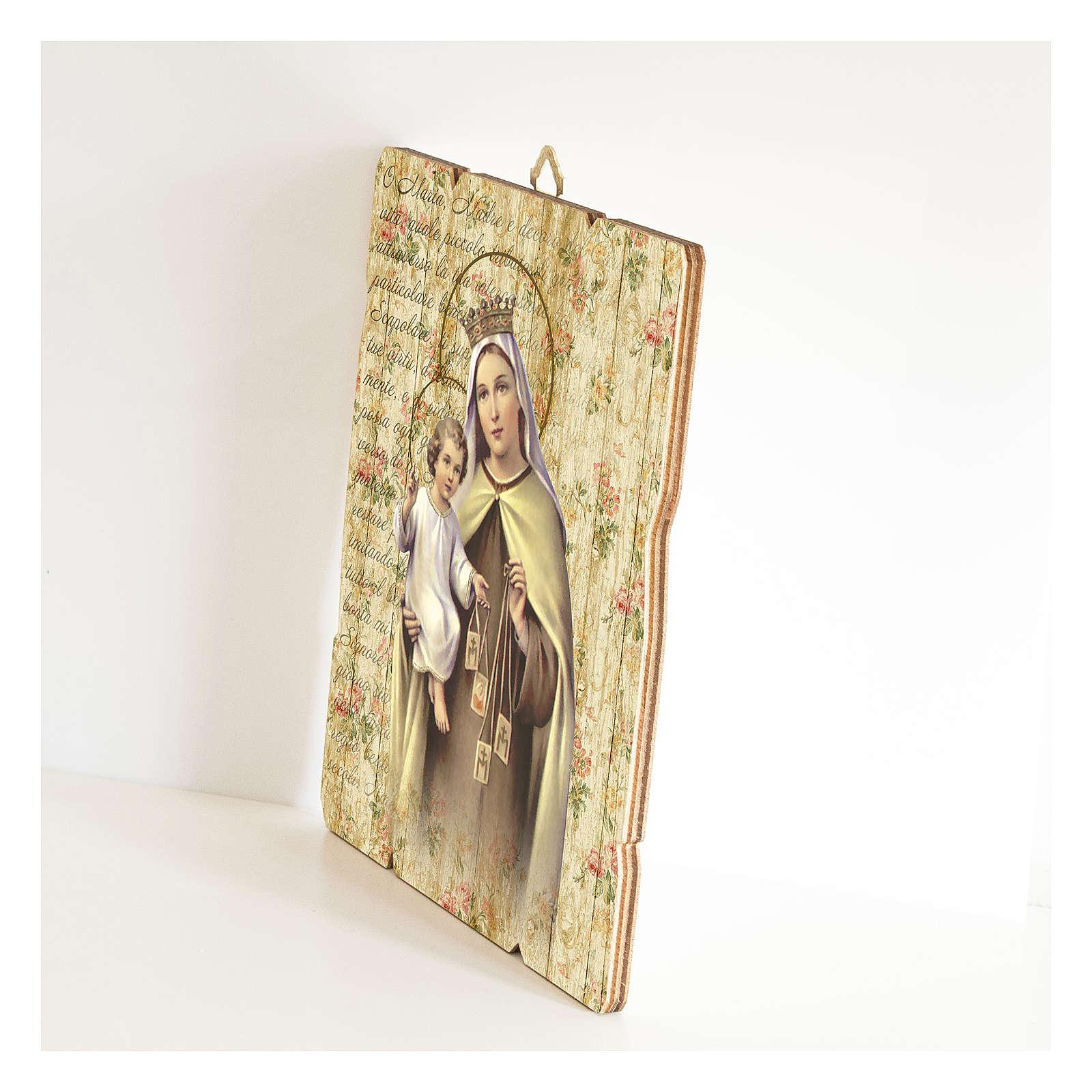 Quadro legno sagomato gancio retro Madonna del Carmelo 3