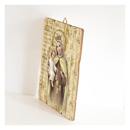 Quadro legno sagomato gancio retro Madonna del Carmelo 2