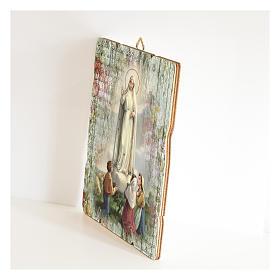 Tableau bois profilé avec crochet Notre-Dame Fatima s2