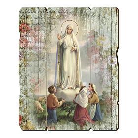 Quadro legno sagomato gancio retro Madonna di Fatima s1
