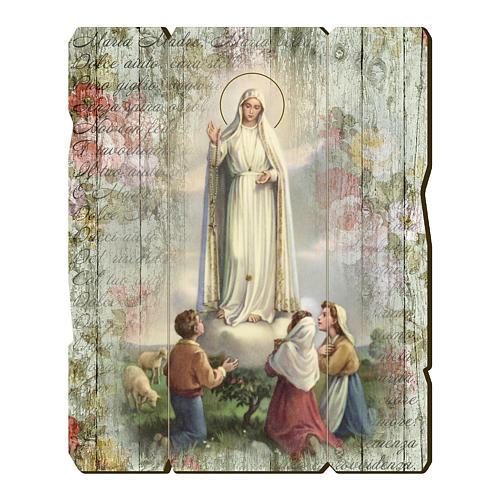 Quadro legno sagomato gancio retro Madonna di Fatima 1