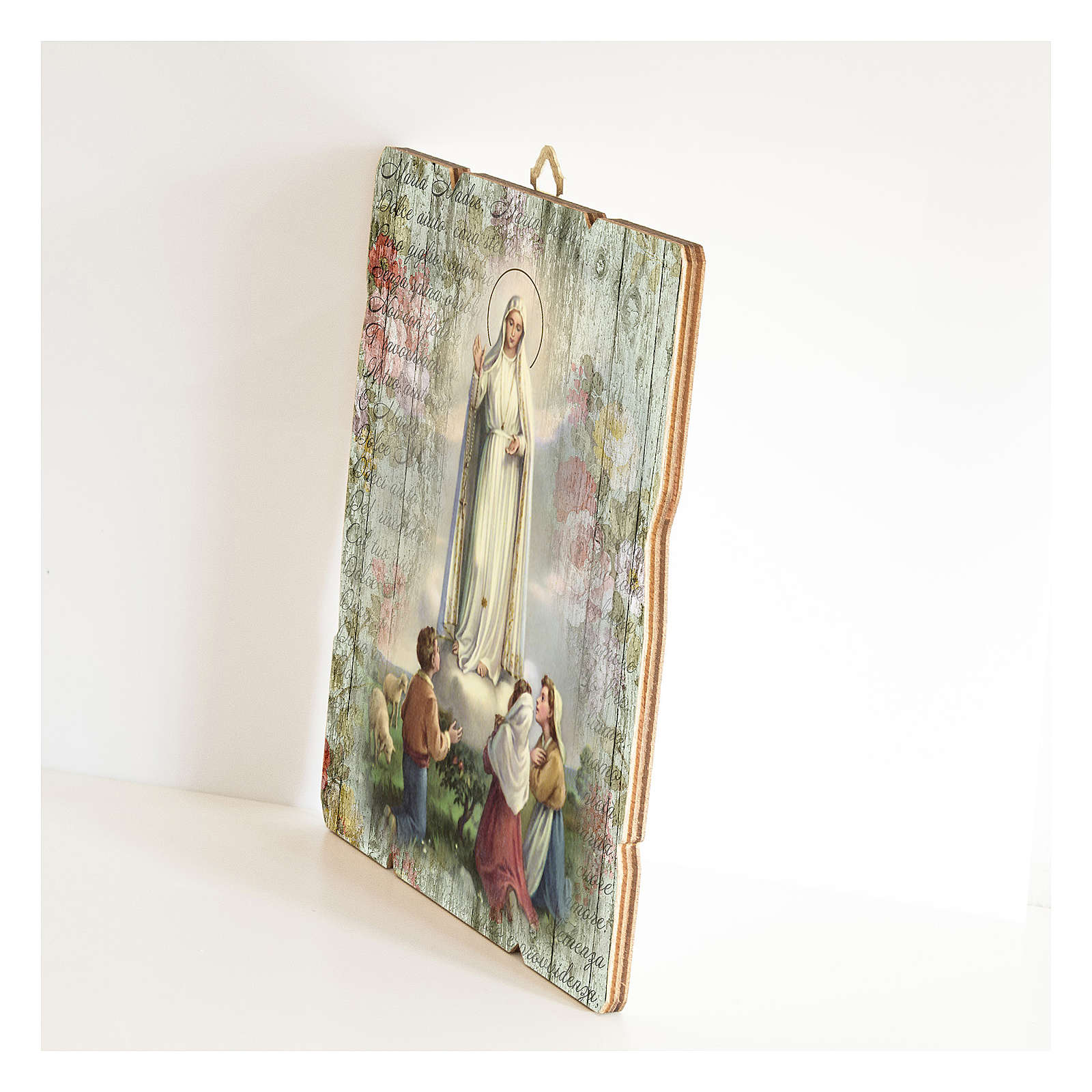 Our Lady of Fatima painting in moulded wood with hook on the back 3