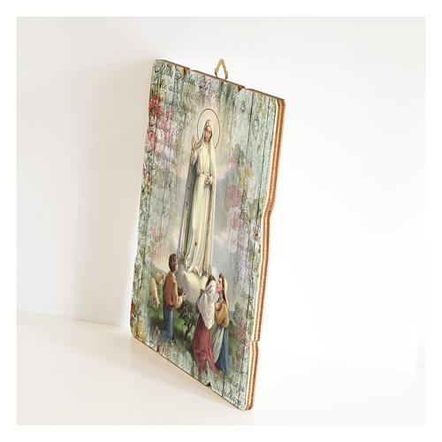 Our Lady of Fatima painting in moulded wood with hook on the back 2