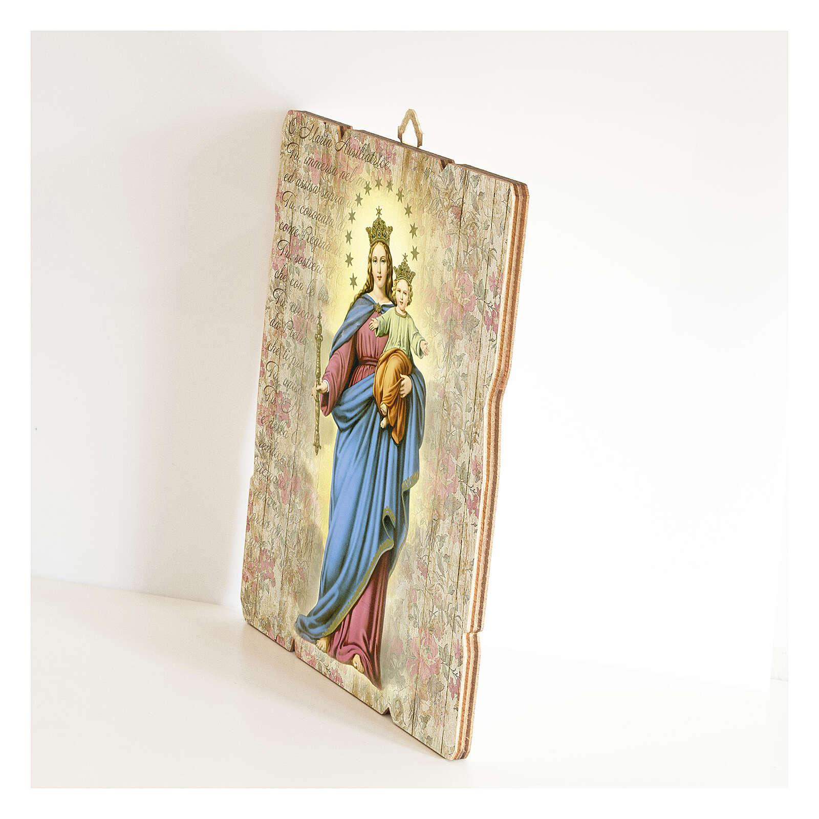 Bild aus Holz retro Maria, Hilfe der Christen 3