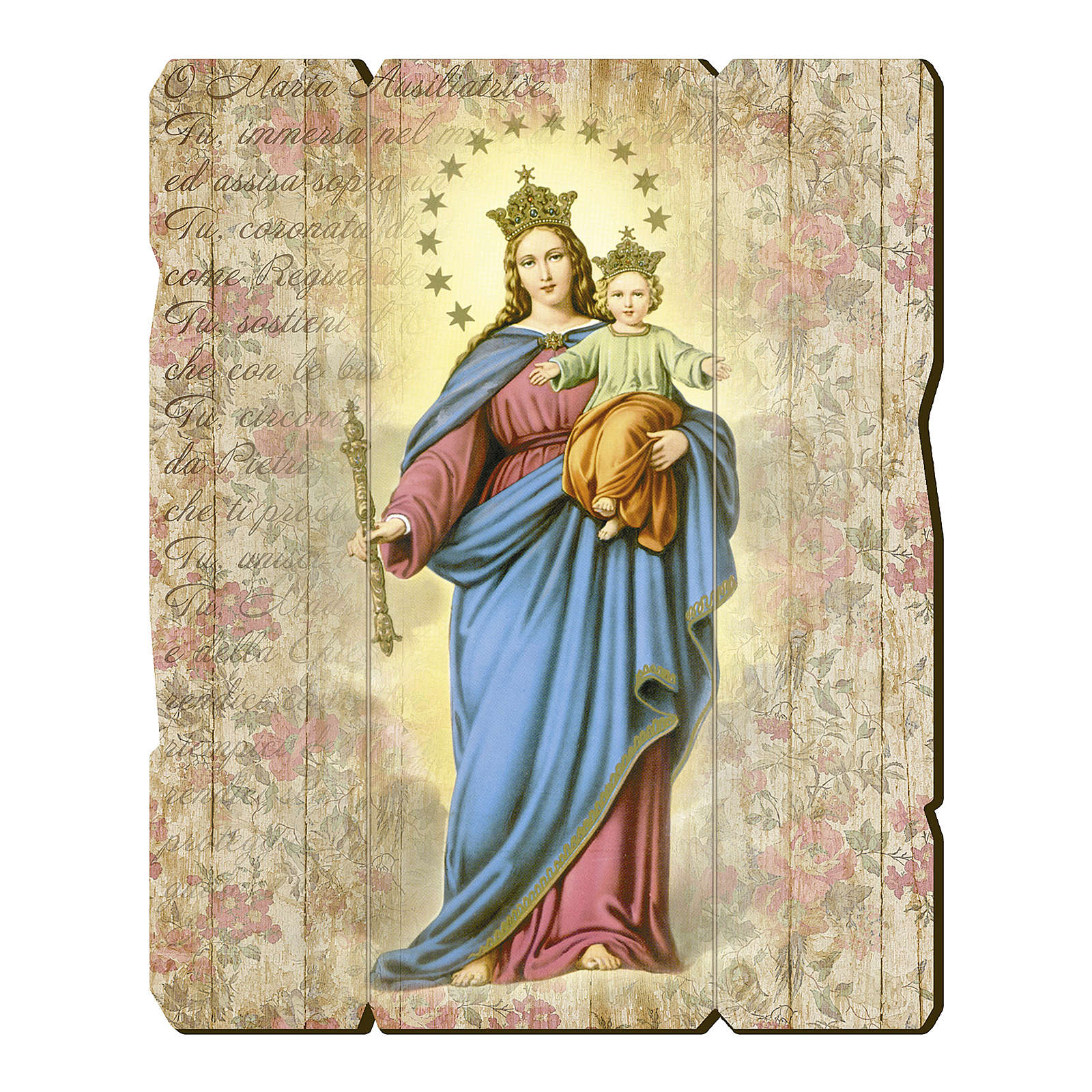 Mary Help of Christians painting in moulded wood with hook on the back 3