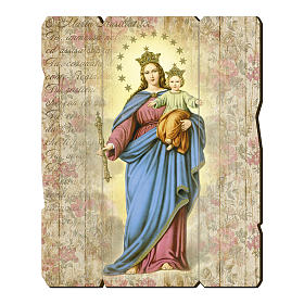 Mary Help of Christians painting in moulded wood with hook on the back s1