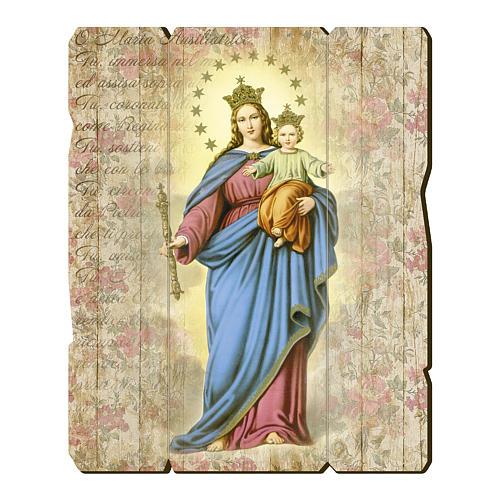 Tableau bois profilé avec crochet Marie Auxiliatrice 1