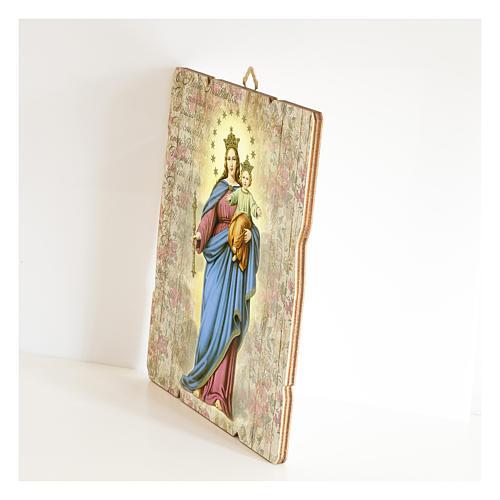 Tableau bois profilé avec crochet Marie Auxiliatrice 2