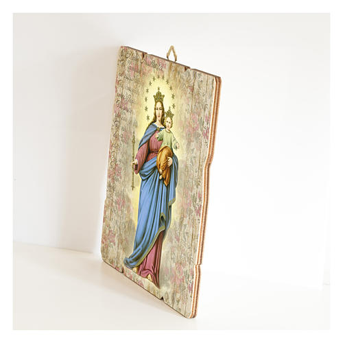 Mary Help of Christians painting in moulded wood with hook on the back 2
