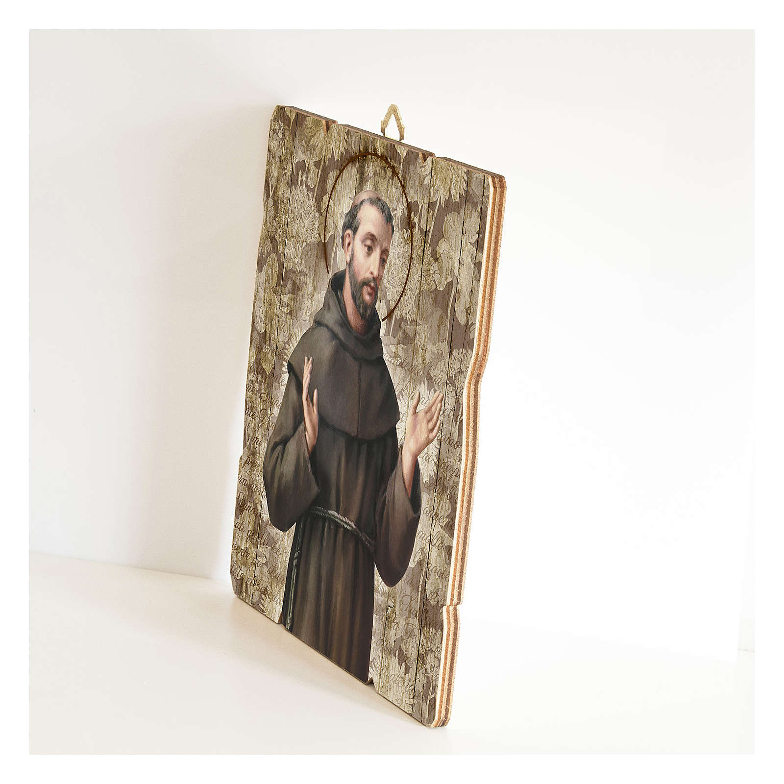Quadro legno sagomato gancio retro San Francesco d'Assisi 3