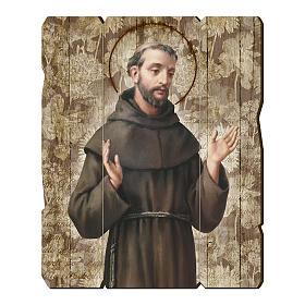 Quadro legno sagomato gancio retro San Francesco d'Assisi s1