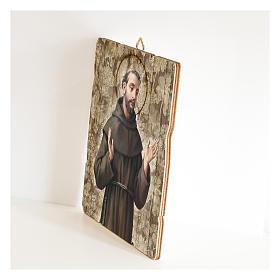 Quadro legno sagomato gancio retro San Francesco d'Assisi s2
