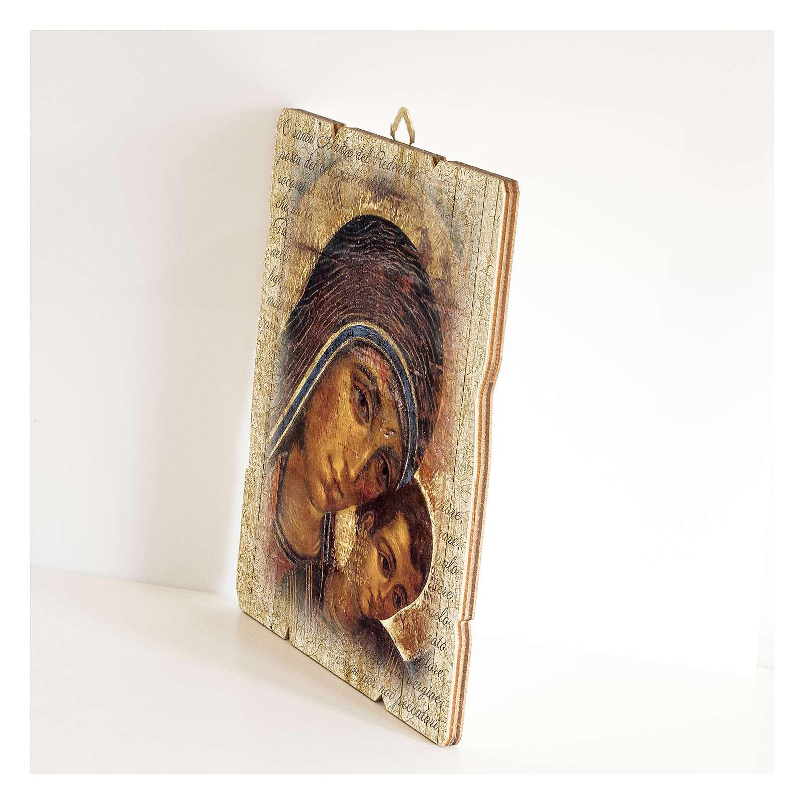 Quadro legno sagomato gancio retro Icona Madonna del Kiko 3