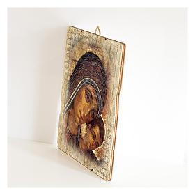 Quadro legno sagomato gancio retro Icona Madonna del Kiko s2