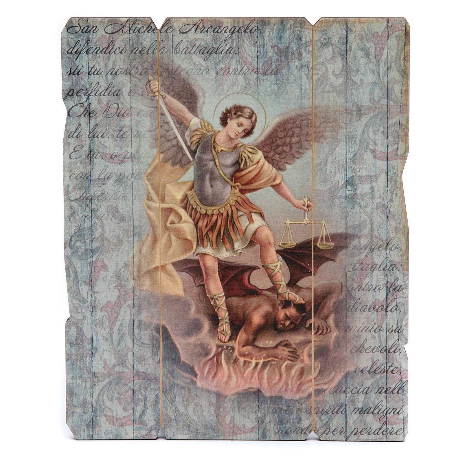 Quadro legno sagomato gancio retro Michele Arcangelo 3