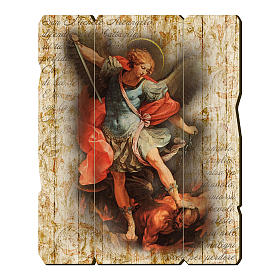 Paintings, printings, illuminated manuscripts: Saint Archangel Micheal painting in moulded wood with hook on the back