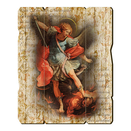 Saint Archangel Micheal painting in moulded wood with hook on the back 1