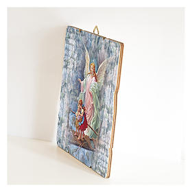 The Guardian Angel painting in moulded wood with hook on the back s2