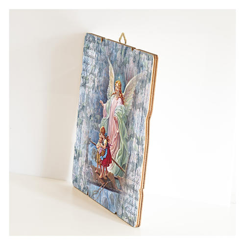The Guardian Angel painting in moulded wood with hook on the back 2