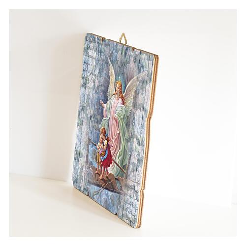 Quadro madeira moldada com gancho Anjo da guarda 2