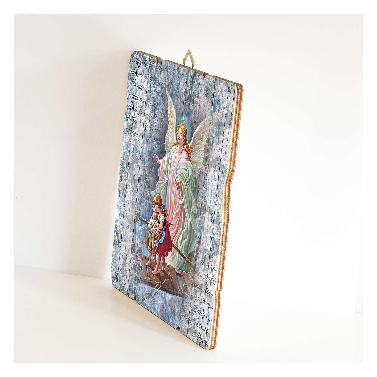 The Guardian Angel painting in moulded wood with hook on the back 3
