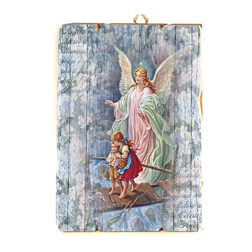 The Guardian Angel painting in moulded wood with hook on the back 1
