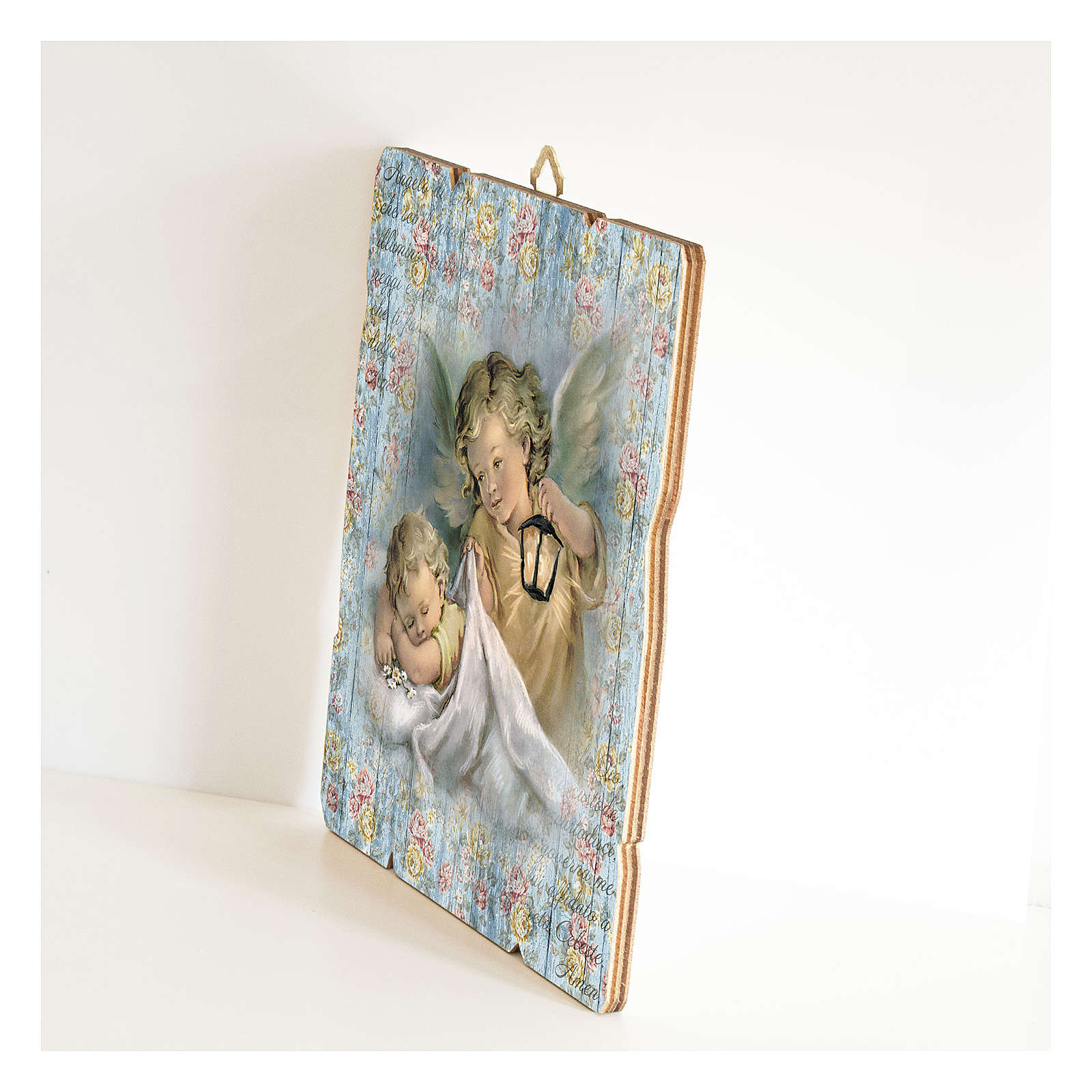 The Guardian Angel with lantern painting in moulded wood with hook on the back 3