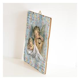 Tableau Ange Gardien avec lanterne en bois profilé s2