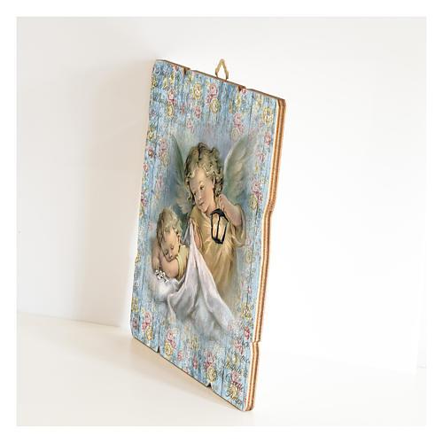 Tableau Ange Gardien avec lanterne en bois profilé 2