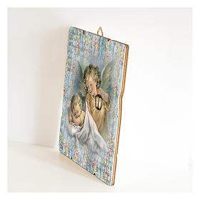 The Guardian Angel with lantern painting in moulded wood with hook on the back s2