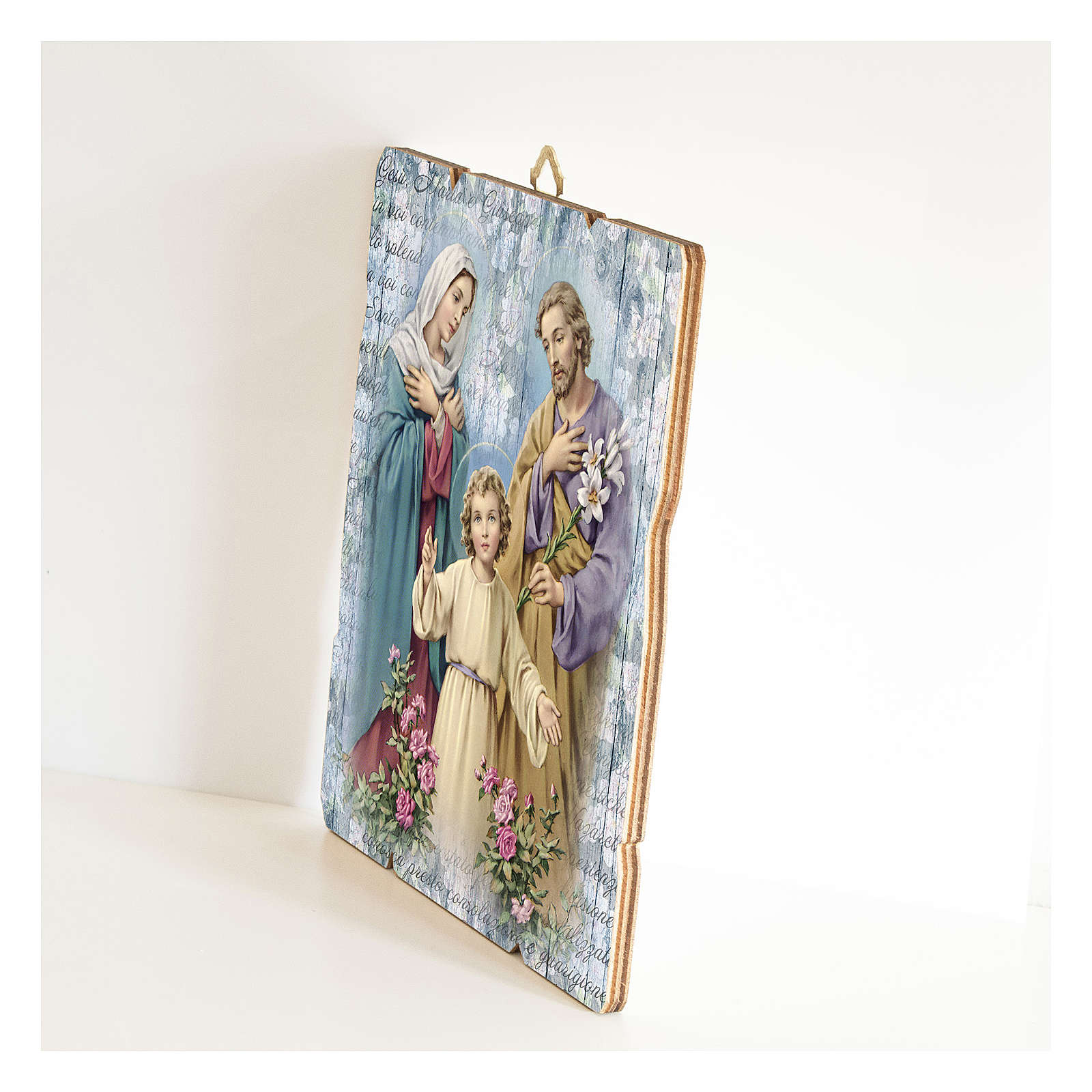 The Holy Family painting in moulded wood with hook on the back 3