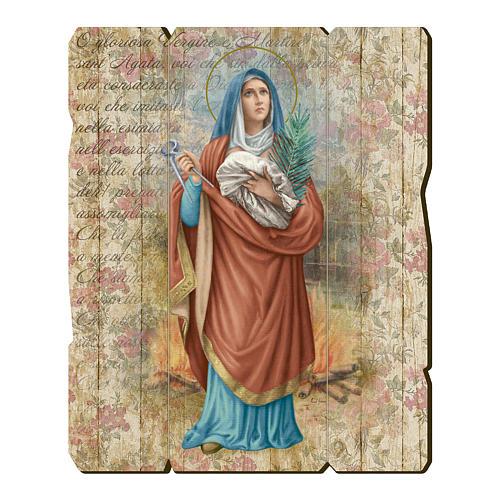 Quadro legno sagomato gancio retro Sant'Agata 1