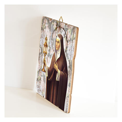Quadro legno sagomato gancio retro Santa Chiara 2