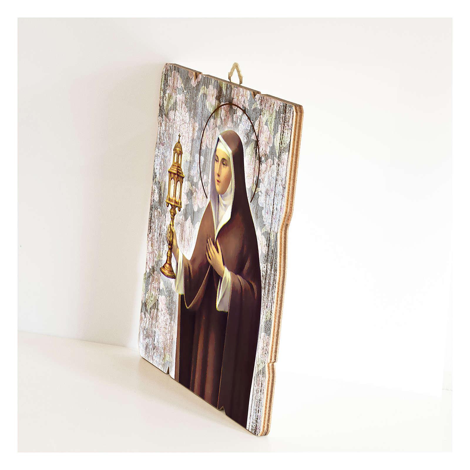 Obraz Święta Klara retro drewno profilowany brzeg haczyk 3