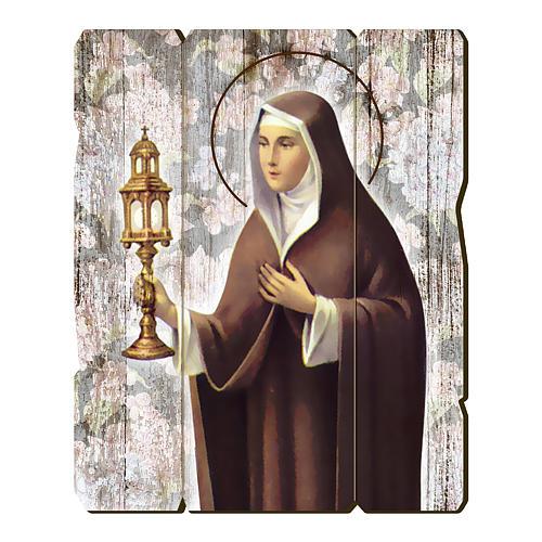 Obraz Święta Klara retro drewno profilowany brzeg haczyk 1
