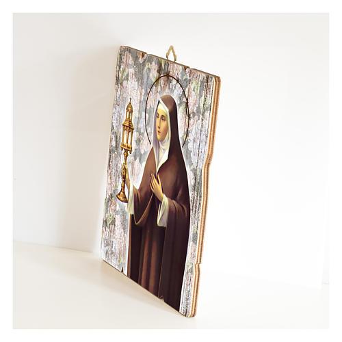 Obraz Święta Klara retro drewno profilowany brzeg haczyk 2