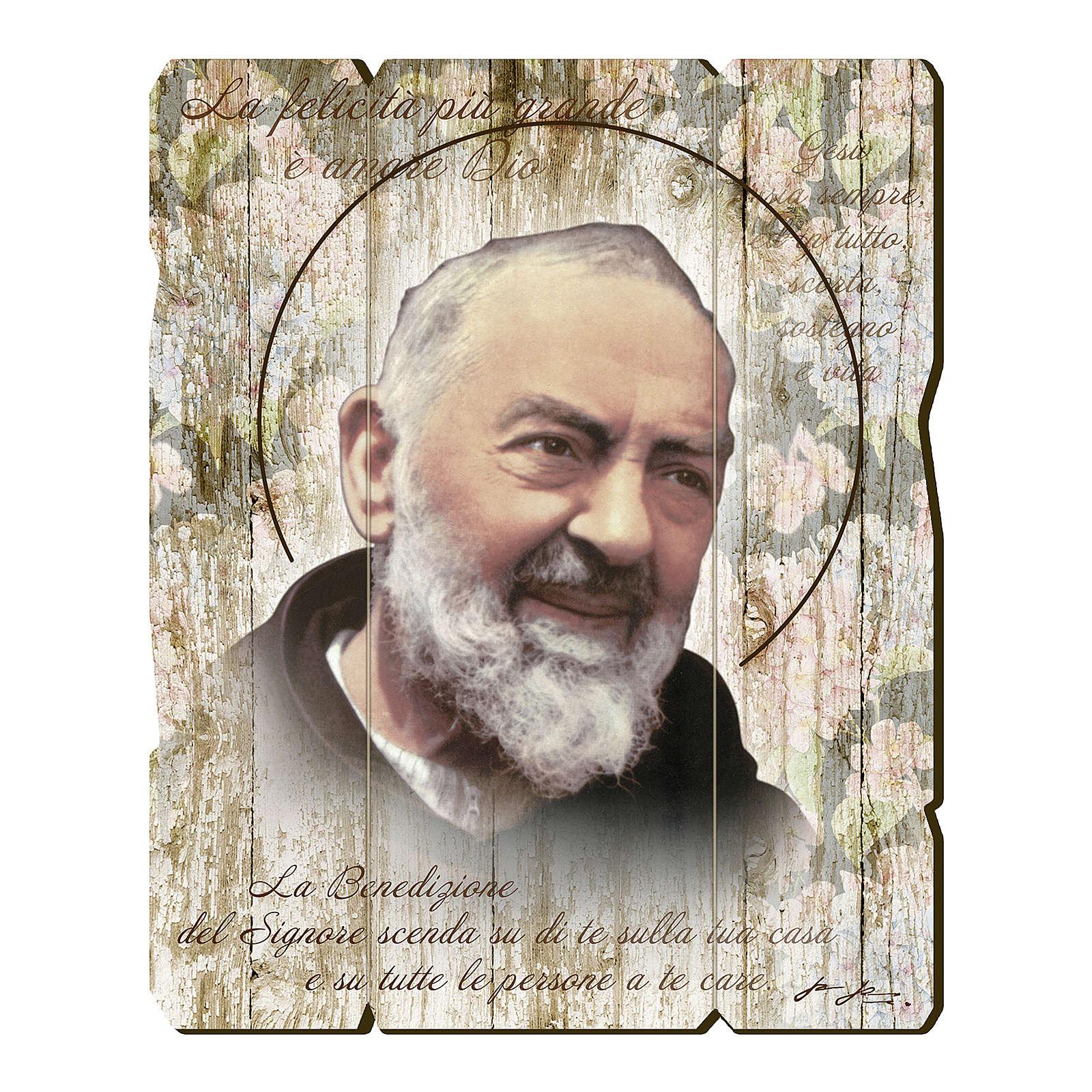 Quadro legno sagomato gancio retro Padre Pio 3