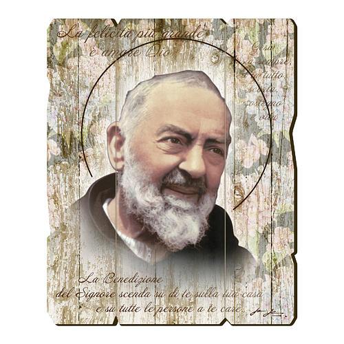 Quadro legno sagomato gancio retro Padre Pio 1