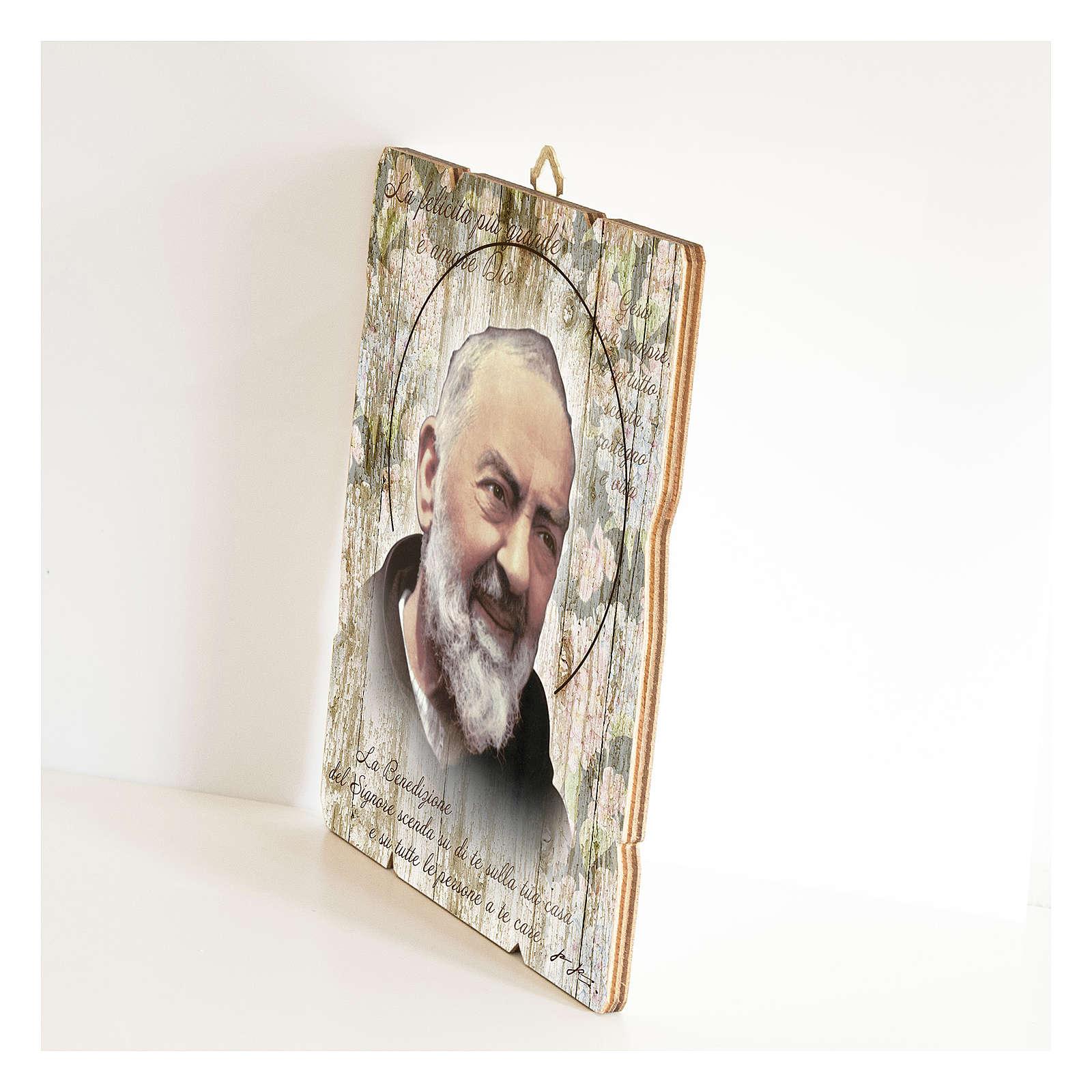 Obraz Ojciec Pio retro drewno profilowany brzeg haczyk 3