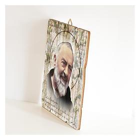 Obraz Ojciec Pio retro drewno profilowany brzeg haczyk s2