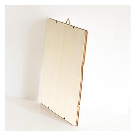 Obraz Ojciec Pio retro drewno profilowany brzeg haczyk s3