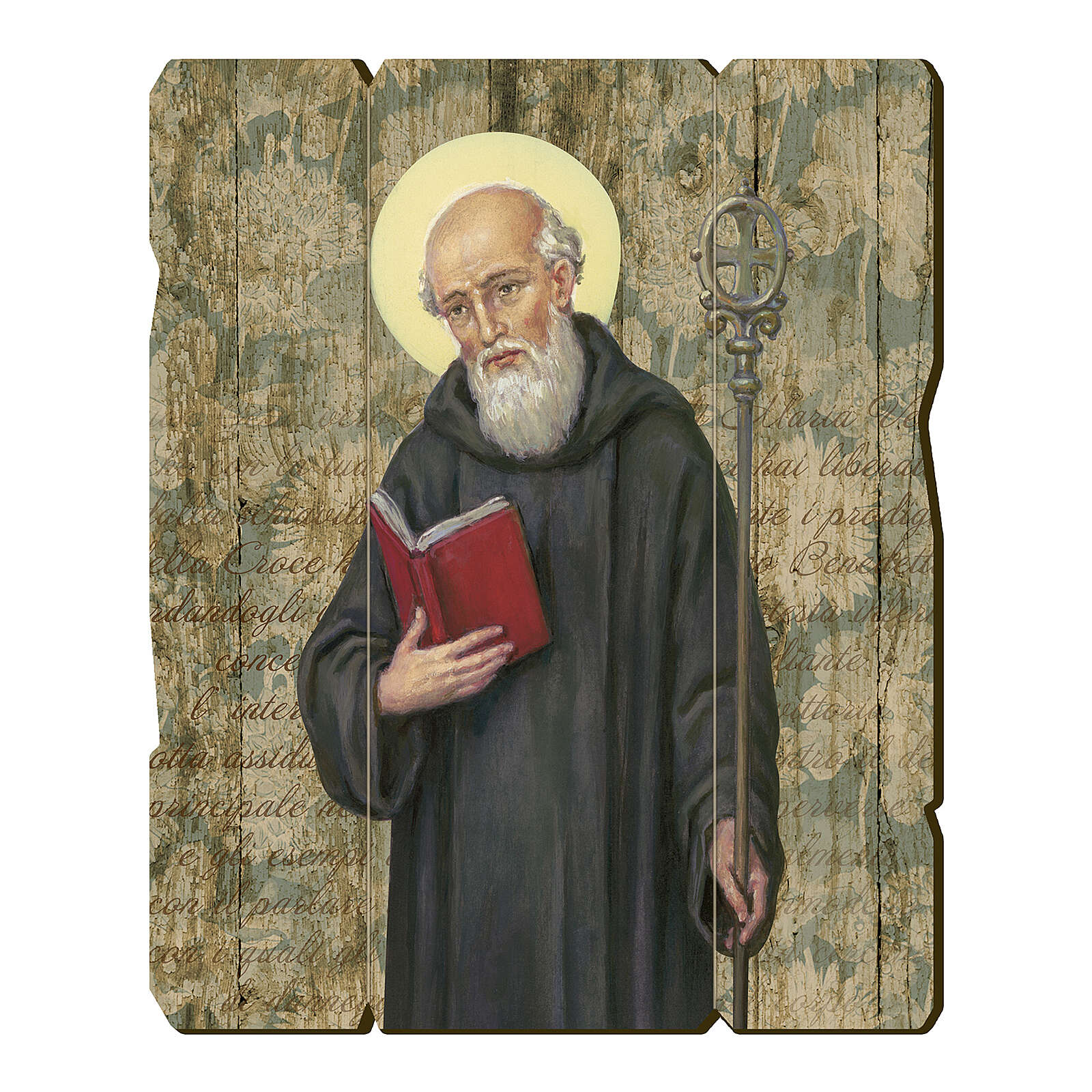 Bild aus Holz retro Benedikt von Nursia 3