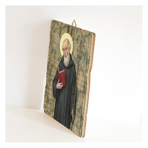 Bild aus Holz retro Benedikt von Nursia 2