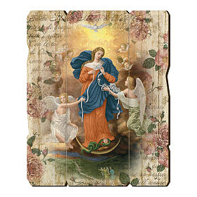 Paintings, printings, illuminated manuscripts: Mary Untire of Knots moulded painting with hook on the back