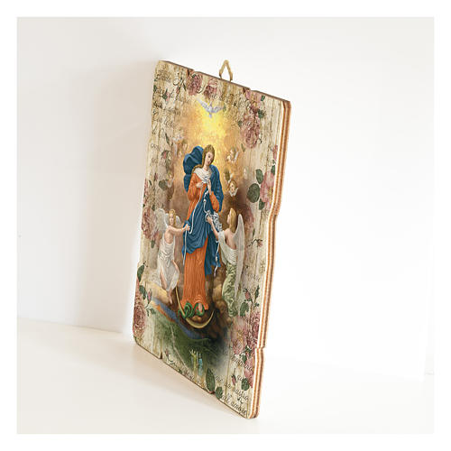 Tableau en bois profilé Marie qui défait les noeuds 2