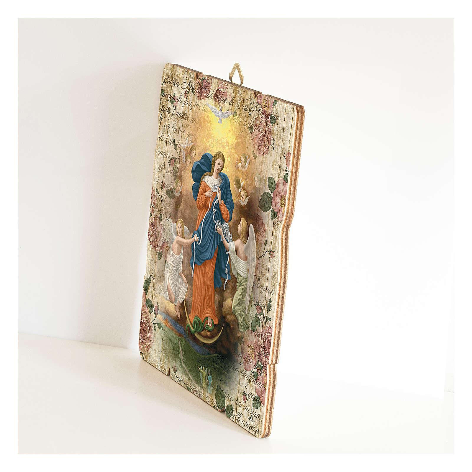 Quadro legno sagomato gancio retro Madonna dei Nodi 3
